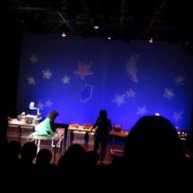 Un momento de la representación de la obra Gárgaras en el teatro Cuarta Pared.