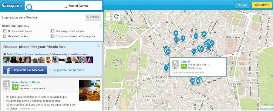 Foursquare te indica sitios interesantes en la zona en la que tú estás