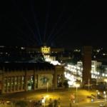 La antigua plaza de toros de Las Arenas de Barcelona ofrece unas maravillosas vistas nocturnas de la Ciudad Condal