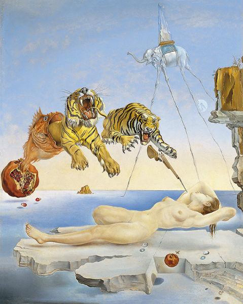 Sueño causado por el vuelo de una abeja alrededor de una granada un segundo antes de despertar, de Dalí