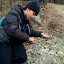 Líquenes y musgos pueblan las grandes rocas que encontramos en la ruta de la Cascada del Purgatorio