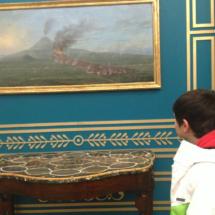 Pintura sobre la erupción del Vesubio, en la Casa del Lector