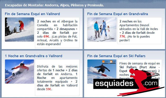 Esquiades ofrece interesantes ofertas fuera de temporada alta.