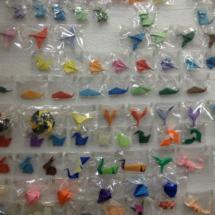 Muestrario de origamis en la tienda Minimum