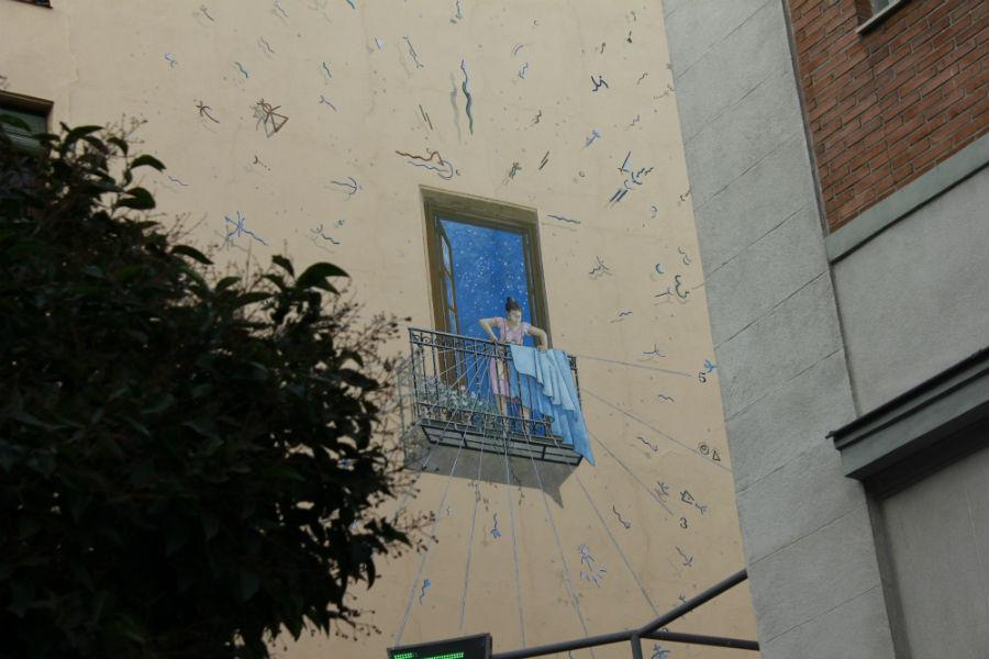 Fachada decorada en el centro de Madrid
