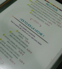 Carta del restaurante peruano Cevichef, en Madrid
