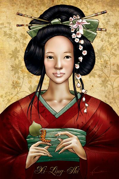 Retrato de Xi Lingshi, descubridora de la seda de gusanos.