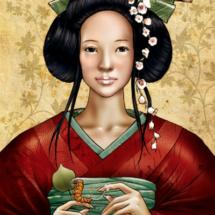 Retrato de Xi Ling Shi, descubridora de la seda de gusanos.