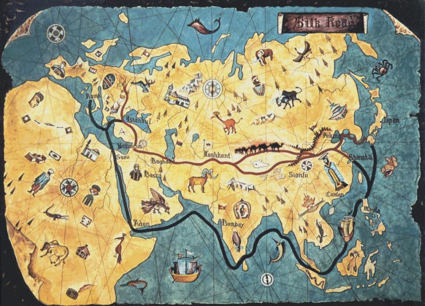 Mapa de la antigua Ruta de la Seda