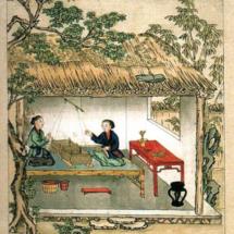 Tapiz que representa la compra de seda en China
