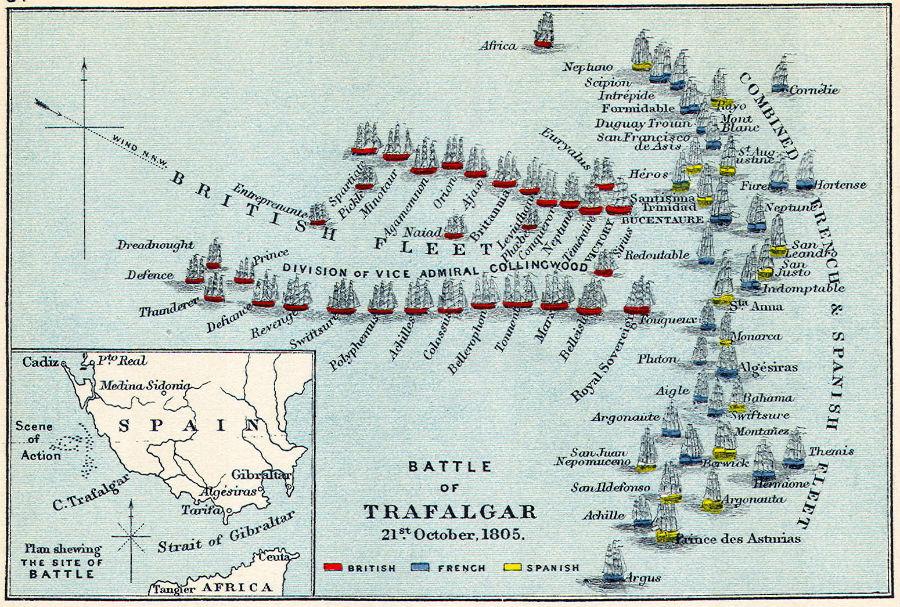 Mapa descriptivo del enfrentamiento de tropas en la Batalla de Trafalgar