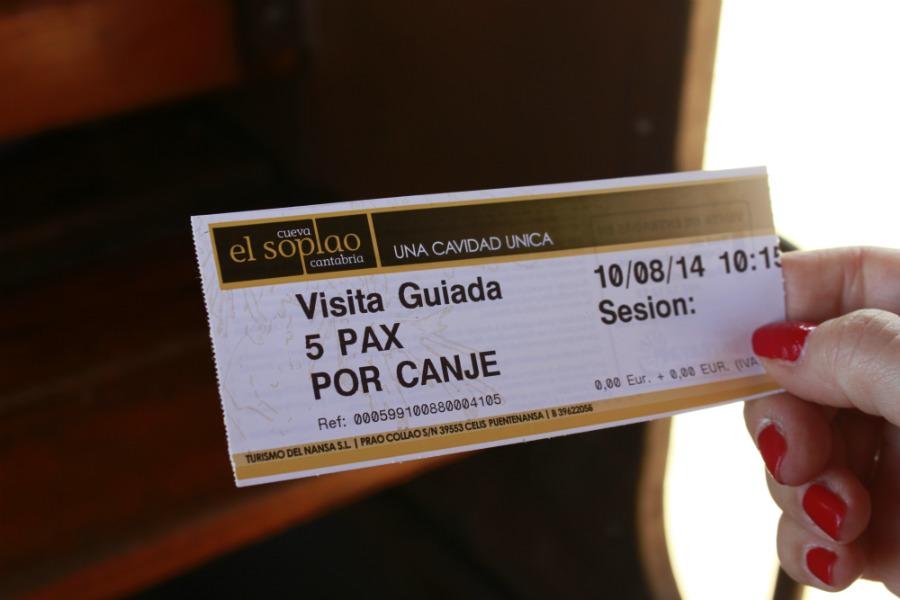 Entrada para visitar la Cueva de El Soplao, en Cantabria