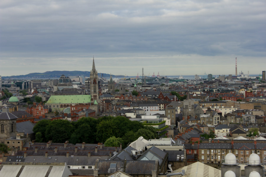 Vistas de Dublín desde la fábrica Guinness