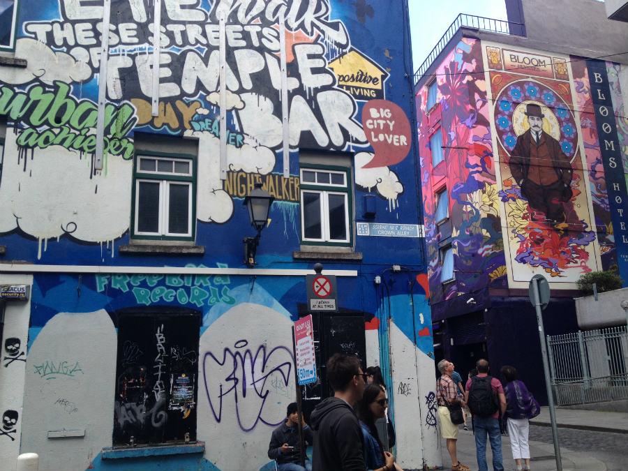 Graffiti de la zona del Temple Bar, en Dublín
