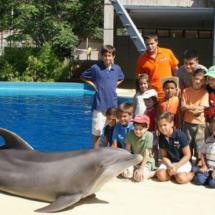 Foto de grupo con un delfín en el Zoo de Madrid