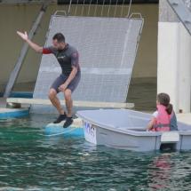 El niño que celebra su cumpleaños en el zoo recibe como regalo un paseo entre los delfines