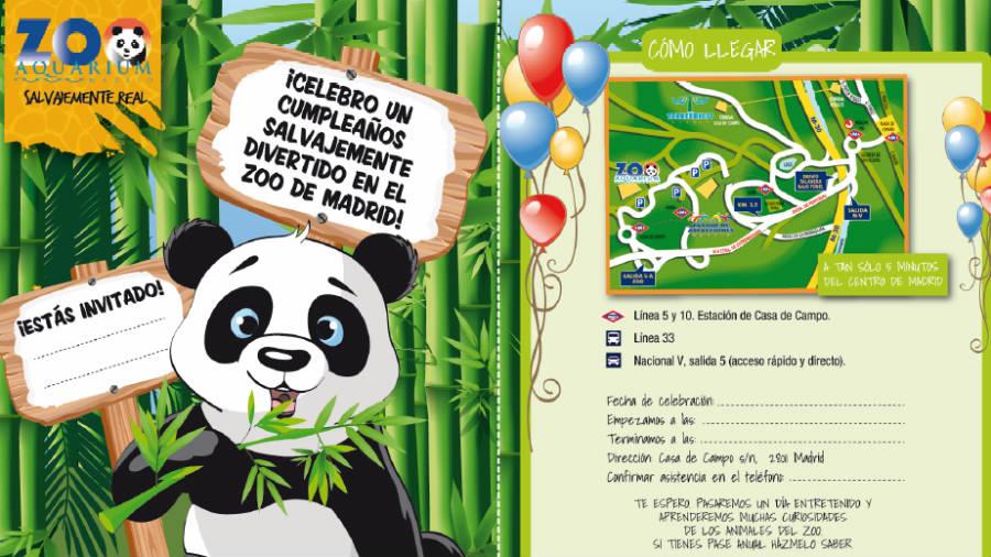 Invitación para celebrar un cumpleaños en el Zoo de Madrid