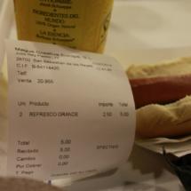 Tiquet de una consumición en Micropolix