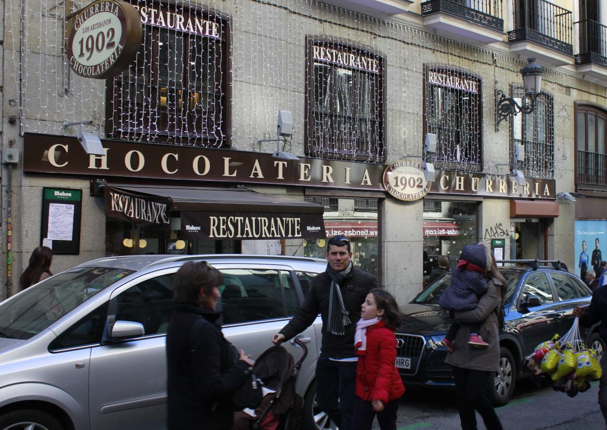 Fachada de la chocolatería 1902, en Madrid