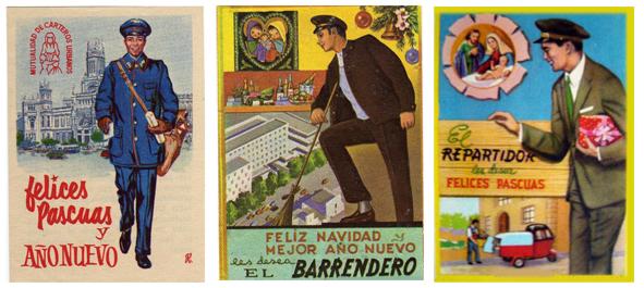 Antiguas tarjetas que los trabajadores de servicios públicos utilizaban para felicitar la Navidad a los vecicnos y pedir el aguinaldo