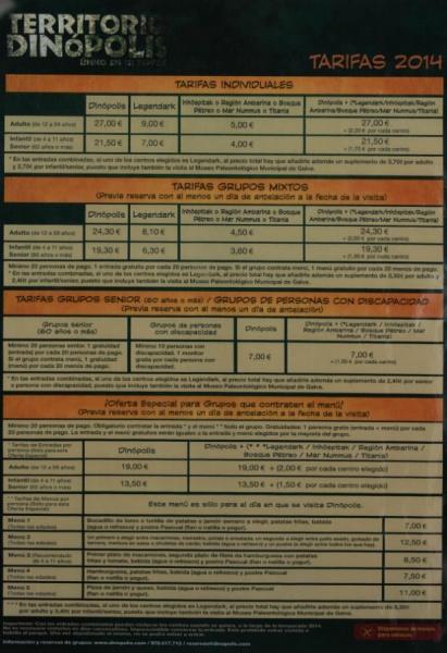 Las tarifas de Dinópolis varían en función del tipo de visita