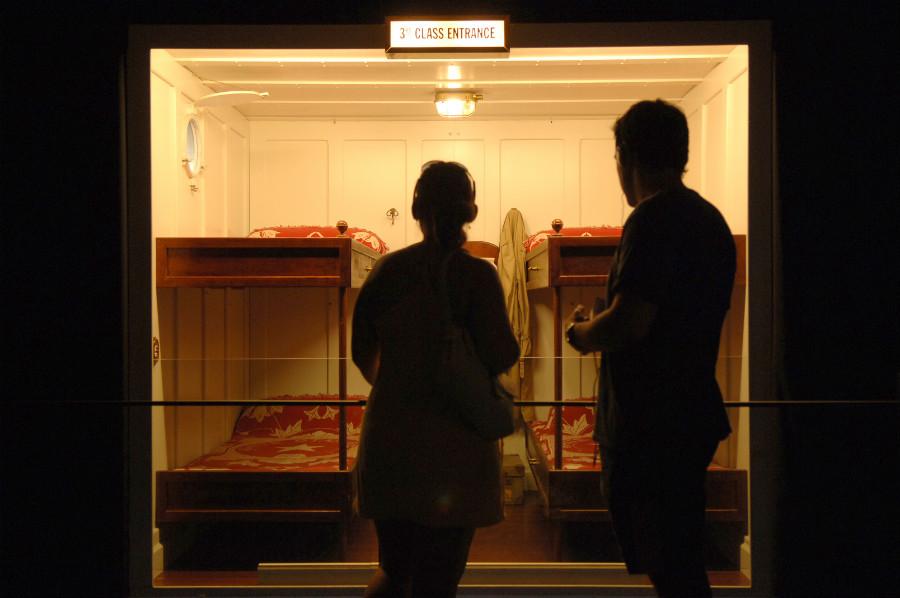 Reproducción de un camarote de 3ª clase del Titanic.