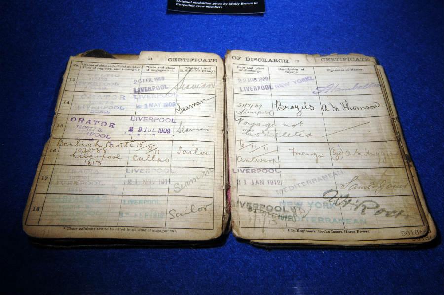 Libro de registro recuperado del Titanic