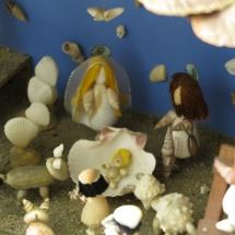 Detalle de belén de conchas, Portugal