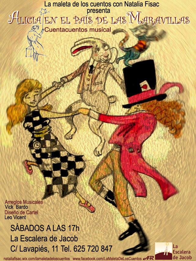 Cartel del cuentacuentos 'Alicia en el País de las Maravillas', por La Maleta de los Cuentos.