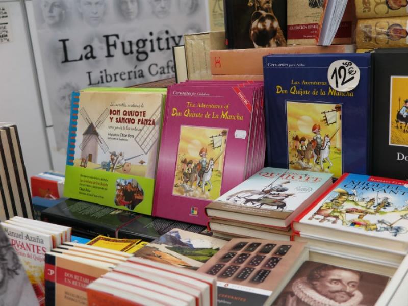 Librería de la expo de Cervantes en la Biblioteca Nacional