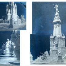 Maquetas monumento a Cervantes en la Plaza de España de Madrid
