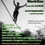 SlackLine en el Camping La Acebeda de la Sierra Norte de Madrid