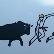 Ilustración de los encierros de San Fermín