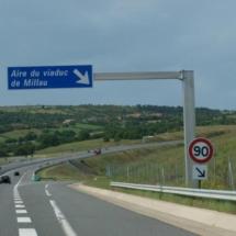 Salida de la autopista para Millau