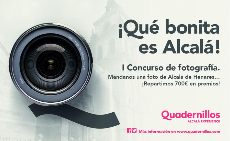 Cartel del concurso de fotografía '¡Qué bonia es Alcalá!', organizado por el centro comercial Quadernillos.