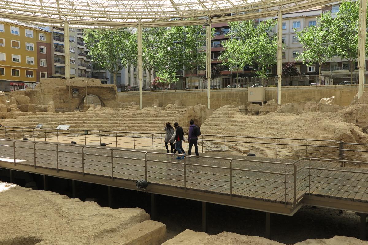 Restos del Teatro Romano de Cesaraugusta, en Zaragoza