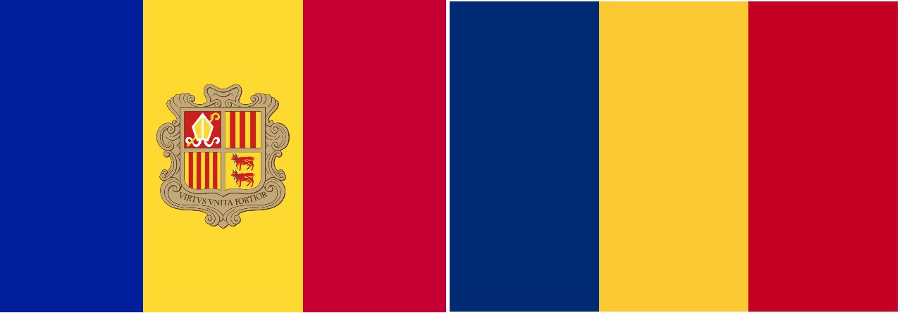 Las banderas de Andorra y Rumanía son prácticamente iguales.