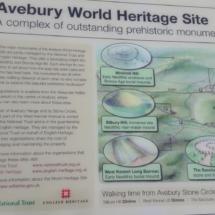 Cartel sobre los megalitos en los alrededores de Avebury