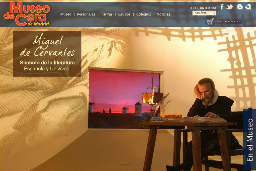 Pantallazo de la web del Museo de Cera de Madrid