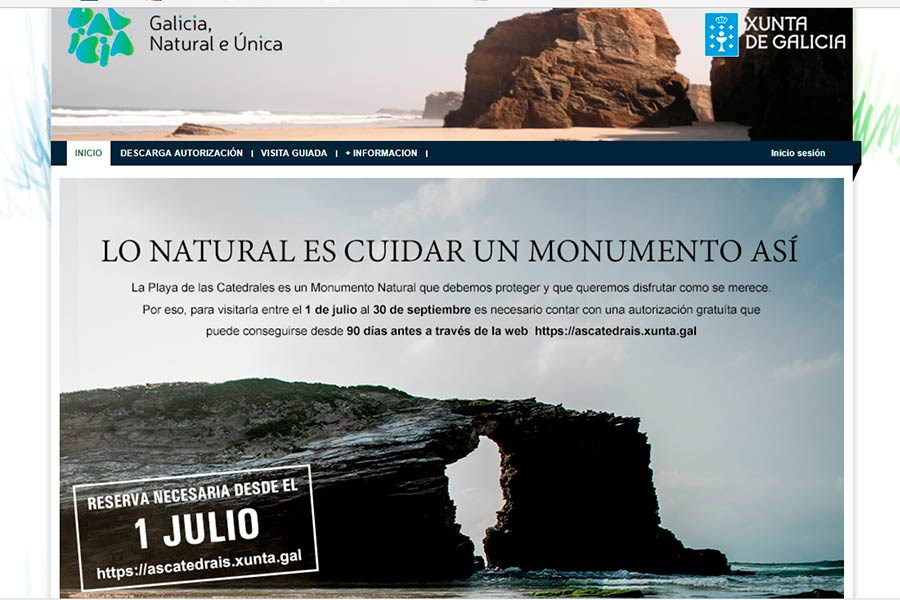 Imagen de la web para solicitar permisos para visitar la Playa de Las Catedrales
