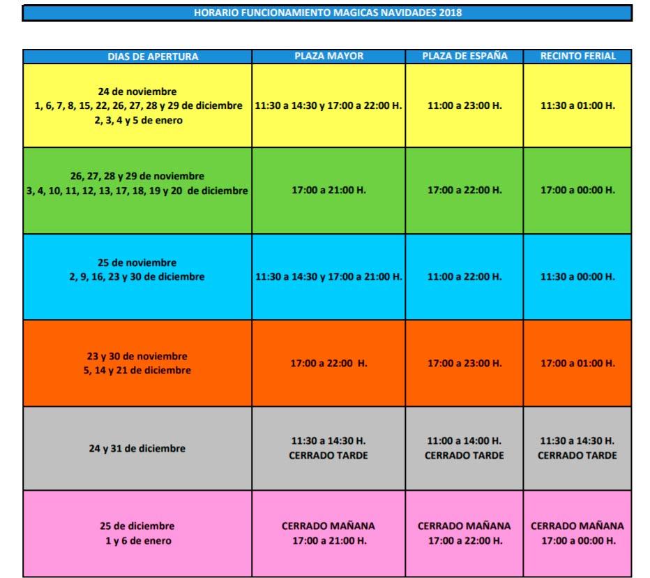 Calendario de las actividades de las Navidades Mágicas en Torrejón 2018