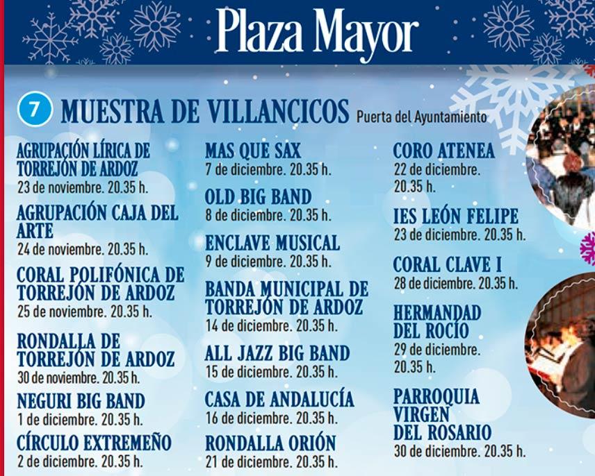 Horarios de villancicos en la Plaza Mayor de Torrejón durante las Navidades Mágicas