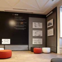 Sala de diseño en la exposición temporal de Porsche en Madrid