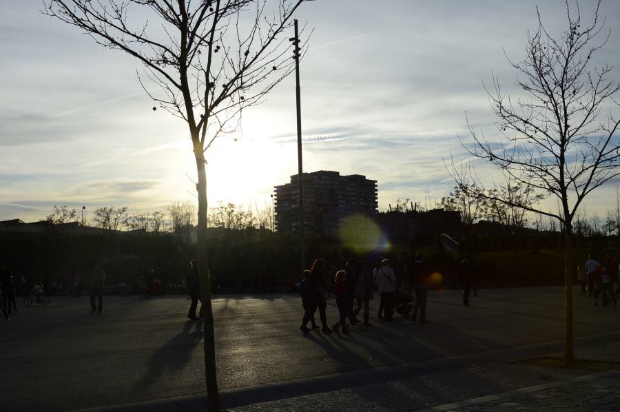 Vistas, al atardecer, desde el Madrid Río