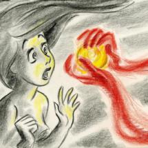 Ilustración de La Sirenita en la exposición sobre Disney en el Caixaforum de Madrid