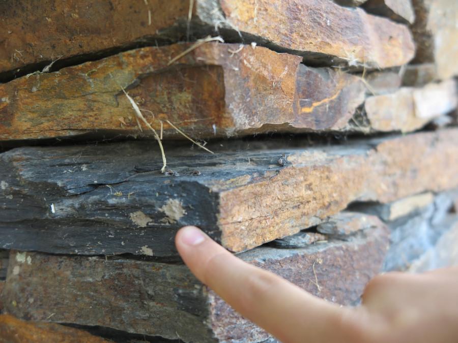 Detalle una piedra de pizarra