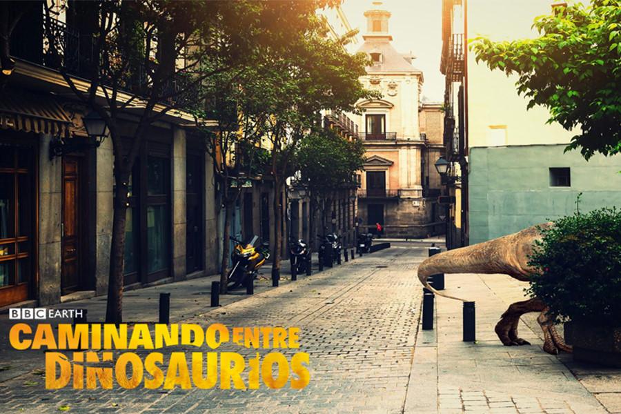 Cartel de Caminando entre Dinosaurios