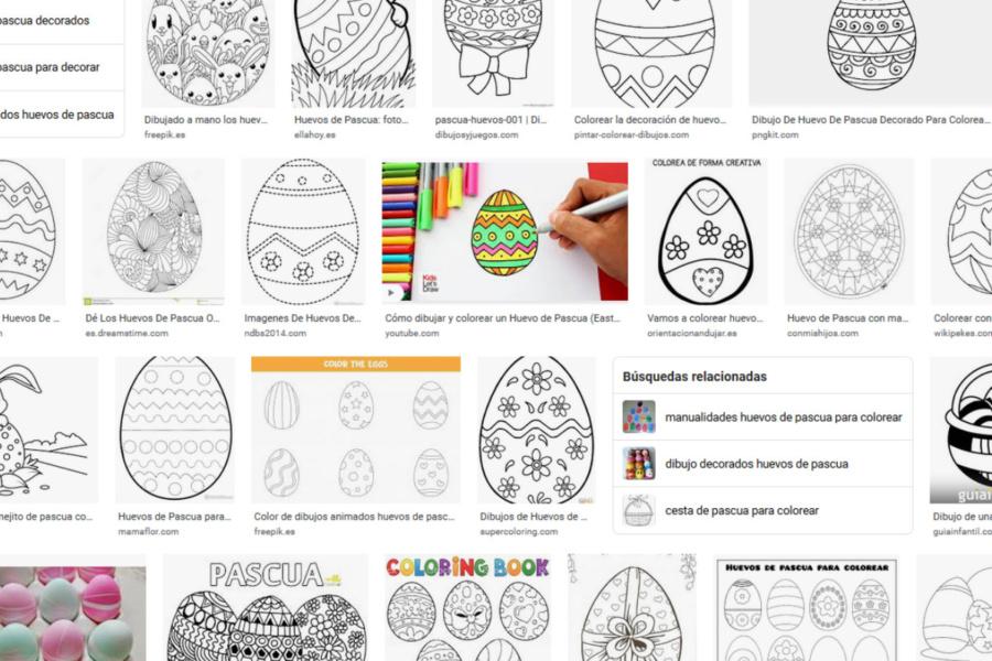 Coloreamos huevos de Pascua de Internet