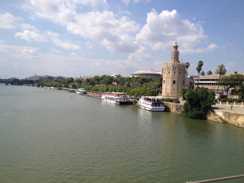 Torre del Oro de Sevilla, desde el río Guadalquivir