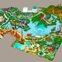 Mapa del parque de atracciones Isla Mágica de Sevilla
